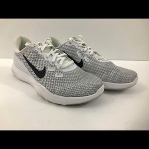 Nike Flex TR7 Women Silver White Shoes Sz 6